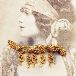 Vintage Gold Tone Snake Brooch